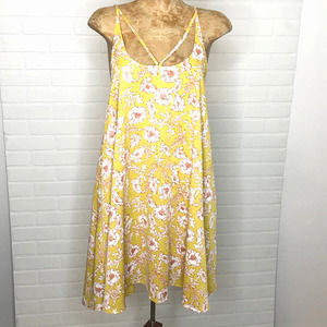 BP Brass Plum Swing Dress Sz M Floral Marigold